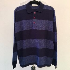 Christian Dior Mens Striped Wool Long Sleeve Shirt